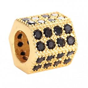 Margele micropave hexagon auriu rhinestone negru 7x7mm