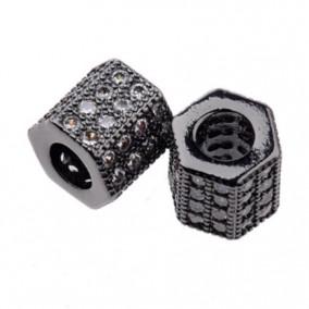 Margele micropave hexagon negru rhinestone alb 7x7mm