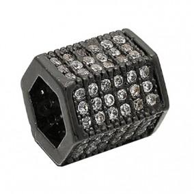 Margele micropave hexagon negru rhinestone alb 9x8mm