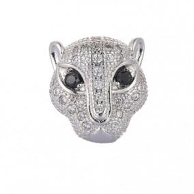 Margele micropave leopard argintiu ochi negri 12mm