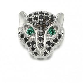 Margele micropave leopard argintiu ochi verzi 12mm