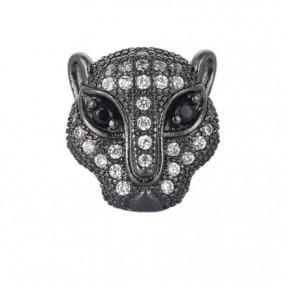 Margele micropave leopard negru ochi negri 12mm