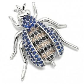 Margele micropave link argintiu carabus rhinestone albastru 25x20mm
