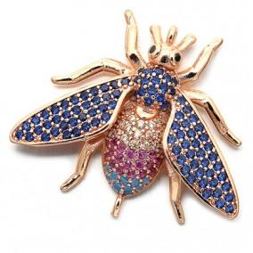 Margele micropave link fluture auriu roscat rhinestone albastru 24x28mm