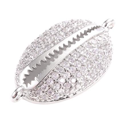 Margele micropave link scoica argintie rhinestone alb 22x13mm