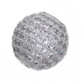 Margele micropave sfera argintie rhinestone alb 8mm