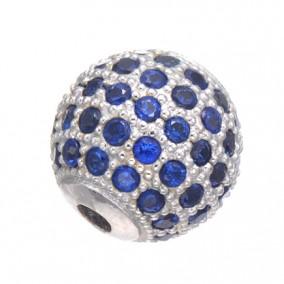 Margele micropave sfera argintie rhinestone albastru 8mm