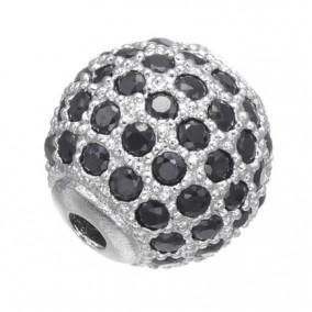 Margele micropave sfera argintie rhinestone negru 8mm