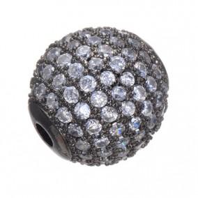 Margele micropave sfera neagra rhinestone alb 8mm