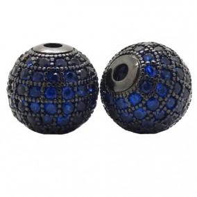 Margele micropave sfera neagra rhinestone albastru 8mm