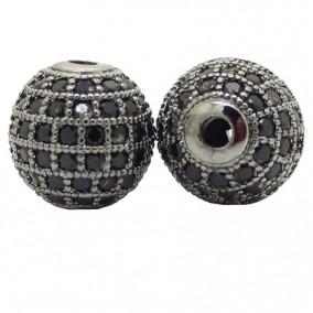 Margele micropave sfera neagra rhinestone negru 8mm
