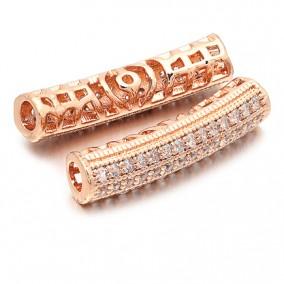 Margele micropave tub auriu roscat rhinestone alb 26x6mm
