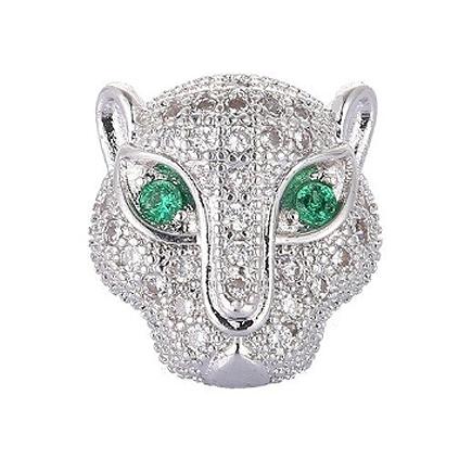 Margele micropave zirconiu leopard argintiu cristale albe ochi verzi 12mm