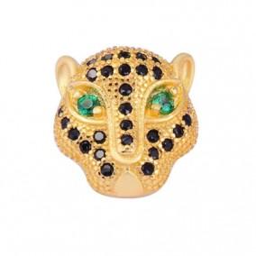 Margele micropave zirconiu leopard auriu cristale negre ochi verzi 12mm