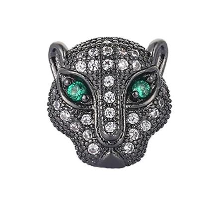 Margele micropave zirconiu leopard negru cristale albe ochi verzi 12mm