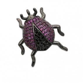 Pandantiv micropave negru carabus rhinestone fucsia 20x20mm