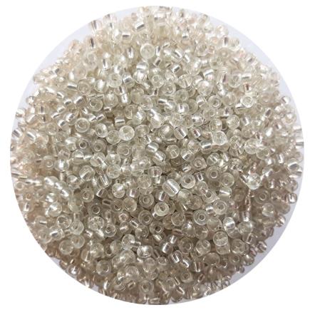 Margele nisip 3mm alb cu foita argintie
