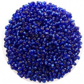 Margele nisip 3mm albastru cerneala cu foita argintie