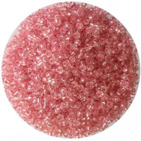 Margele nisip 3mm roz cu foita argintie