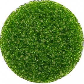 Margele nisip 3mm verde crud transparent