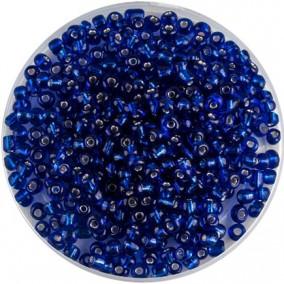 Margele nisip 4mm albastru cerneala cu foita argintie