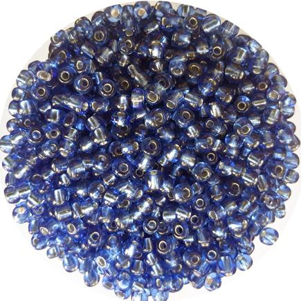 Margele nisip 4mm albastru indigo cu foita argintie
