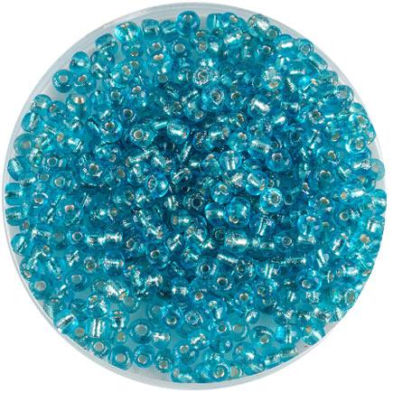 Margele nisip 4mm bleu cu foita argintie