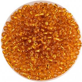 Margele nisip 4mm galben oranj cu foita argintie