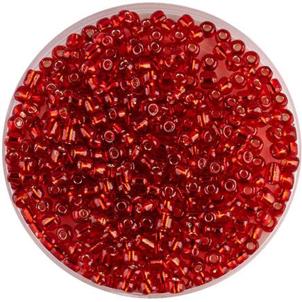 Margele nisip 4mm rosu cu foita argintie