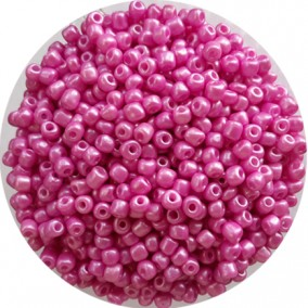 Margele nisip 4mm roz bombon perlat