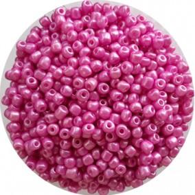 Margele nisip 4mm roz bonbon perlat