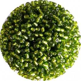 Margele nisip 4mm verde crud cu foita argintie