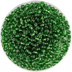 Margele nisip 4mm verde iarba cu foita argintie