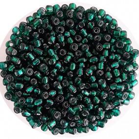 Margele nisip 4mm verde smarald cu foita argintie