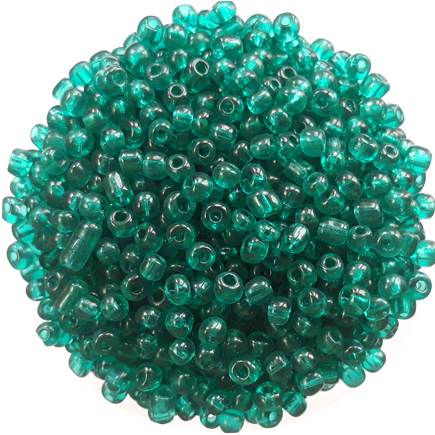 Margele nisip 4mm verde smarald transparent