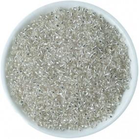 Margele nisip 2mm alb cu foita argintie