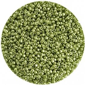 Margele nisip 2mm verde crud metalizat