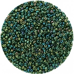 Margele nisip 2mm verde metalizat irizat