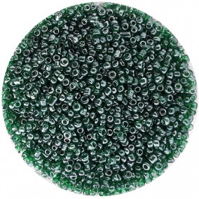 Margele nisip 2mm verde transparent perlat