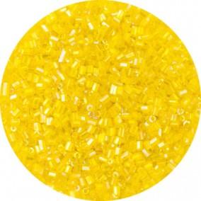 Margele nisip tubulare fatetate 2mm galben transparent cu efect ab
