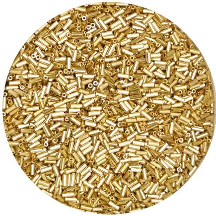 Margele nisip tubulare 5mm auriu metalizat