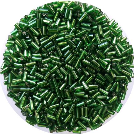 Margele nisip tubulare 5mm verde iarba cu foita argintie
