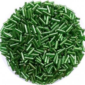 Margele nisip tubulare 7mm verde iarba cu foita argintie