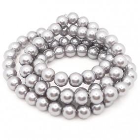 Perle sticla 10mm gri argintiu sirag 80cm