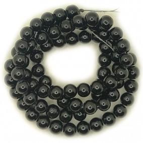 Perle sticla 10mm negru sirag 80cm