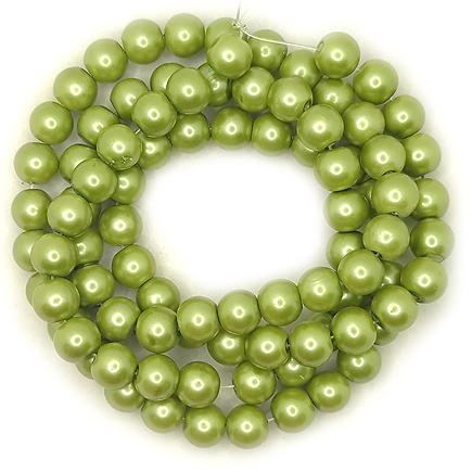Perle sticla 10mm verde oliv sirag 80cm