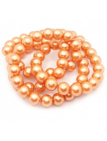Perle sticla 12mm caramiziu sirag 80cm