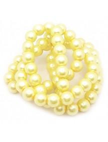 Perle sticla 12mm galben sirag 80cm