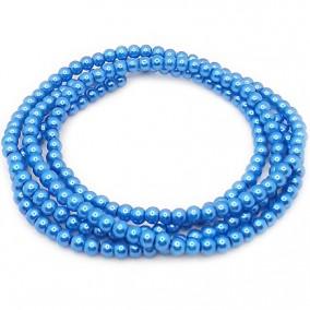 Perle sticla 4mm albastru denim sirag 80cm