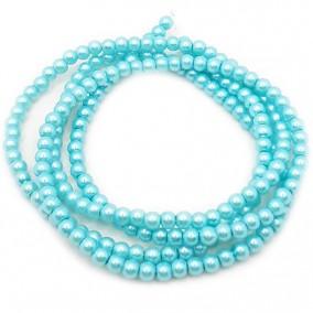 Perle sticla 4mm albastru turcoaz sirag 80cm